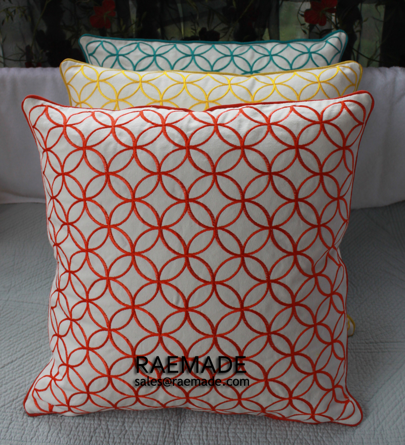 Yellow Or Coral Red Embroidered Decorative Pillow Circle Bed Pillow Fascinating Yellow Decorative Bed Pillows
