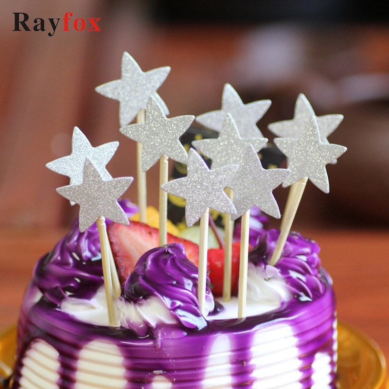 10 Coloured Stars Cake Toppers Picks Glitter Decoration Party Birthday Cupcakes