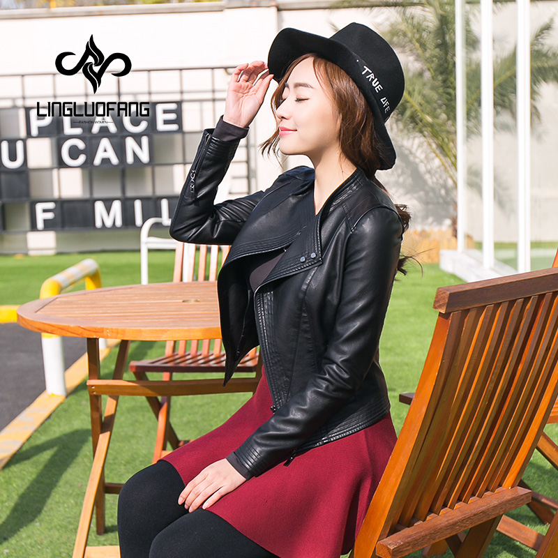 Spring and autumn Women black and pink   leather   jacket lapel short paragraph   leather   PU   leather   coat plus size s-2xl 15H117