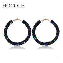 HOCOLE 2019 New Design 5 Colors Fashion Crystal Hoop Earrings Geometric Round Shiny Rhinestone Big Earring Jewelry For Women