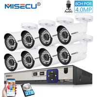MISECU H.265 4.0MP POE Security Camera CCTV System 8CH NVR With 8pcs IP Camera Audio Outdoor Day/Night Video Surveillance Kit