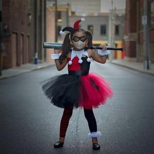 Image 5 - Harley Quinn Tutu elbise kırmızı siyah fantezi çocuk kız karnaval cadılar bayramı Joker palyaço Cosplay kostüm çocuklar doğum günü partisi elbisesi