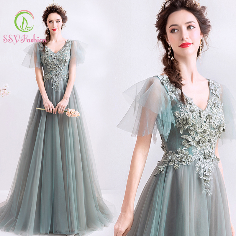 SSYFashion V Neck Flare Sleeves Floor Length Grey Green Long Evening Dresses Formal Party Gown Vestidos De Fiesta De Noche