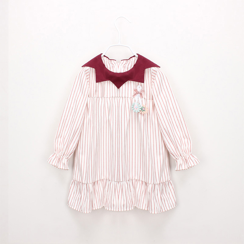 Hurave Baby Girl Printing Turn-down collar Dress Clothes Children Long Sleeve clothing Kids striped Casual cotton DressesHurave Baby Girl Printing Turn-down collar Dress Clothes Children Long Sleeve clothing Kids striped Casual cotton Dresses
