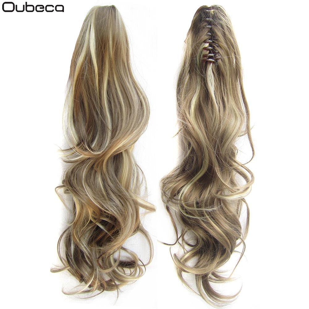 Oubeca Synthetic Claw Clip Curly Ponytail Extensions Long Layered Thick Pony Tail Hair Piece Clip In Hair Extensions For Women