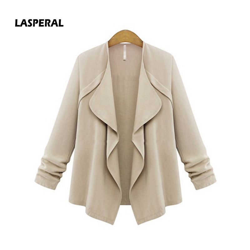 Lasperal Office Lady Workwear 2018 New Fashion Lapel Collar Solid Pink Coat Jackets Long Sleeve Casual Loose Slim Plus Size In Basic From