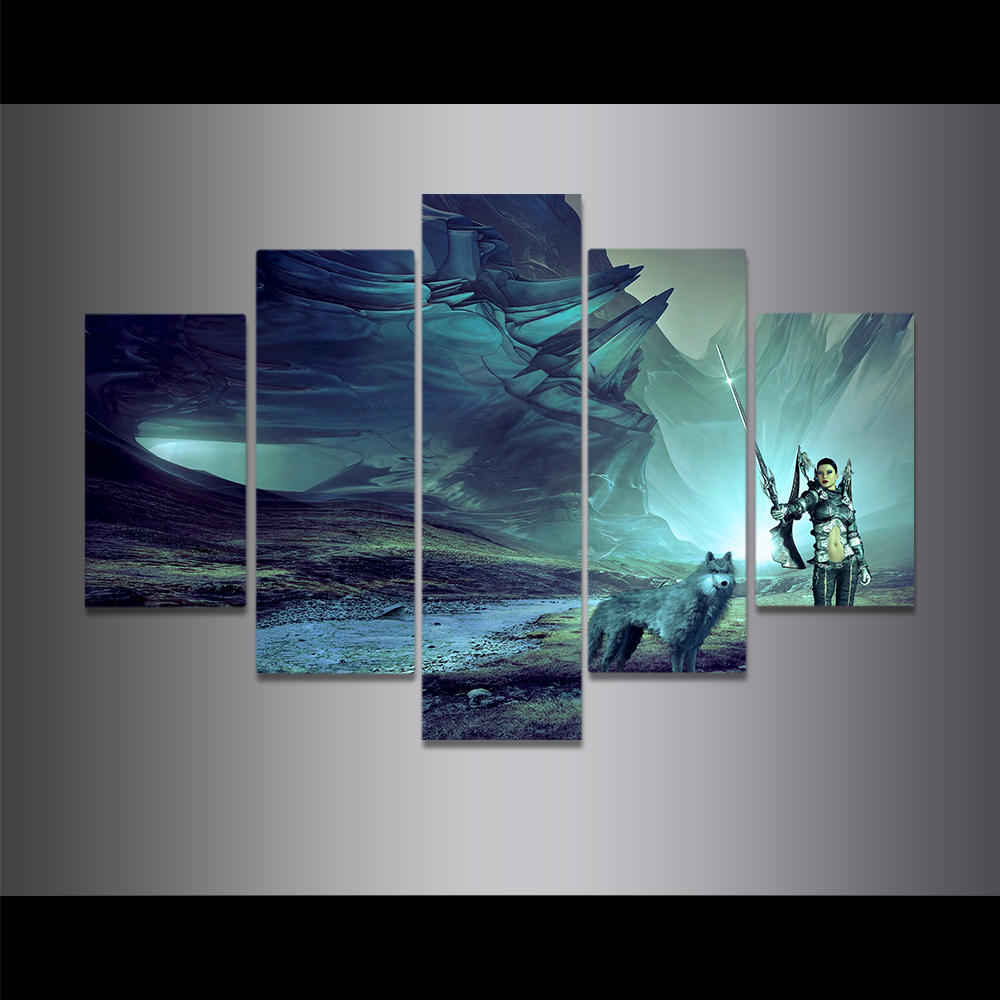 Unframed Canvas Painting Giant Rock Wolf Female Warrior Sword Picture Prints Wall Picture For Living Room Wall Art Decoration
