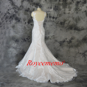 Image 5 - champagne and ivory special lace design wedding dress classic mermaid style wedding gown custom made factory wholesale price