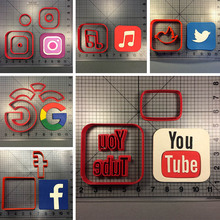 Communication Tools Facebook Google Logo Cookie Cutter Fondant Cupcake Top Made 3D Printed Biscuit Tools Cutter kitchen tools