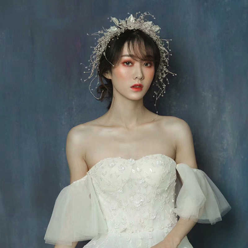 HIMSTORY رائع عرائس الزفاف إكسسوارات الشعر غطاء الرأس للعرائس الفضة ورقة مع بلورات الخرز النساء هيرباند