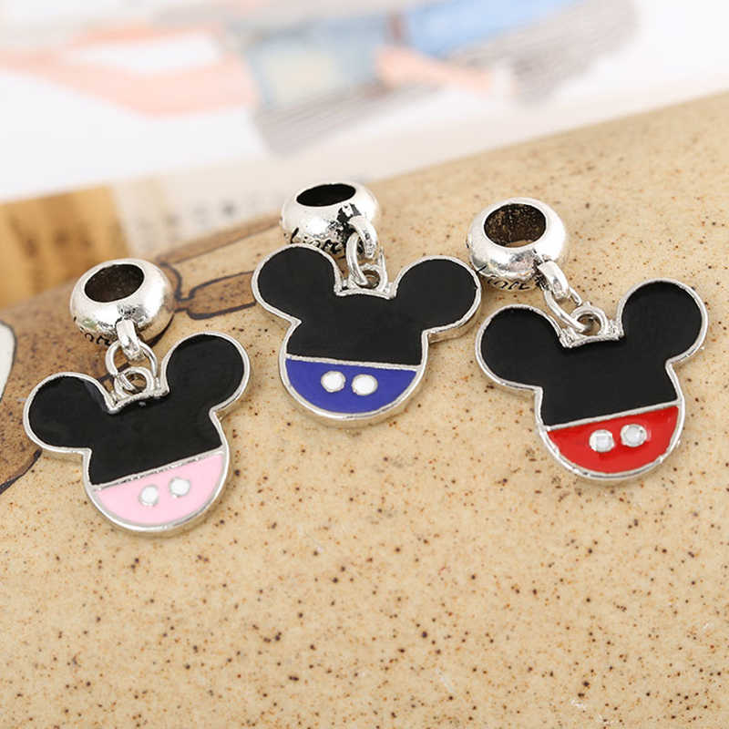 Mickey Shape Multicolor Oil-drip Bead Silver Plated Big Hole Charm Pendants DIY Jewelry Accessories Fit Necklace Bracelet JPP263