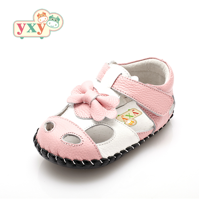 YXY Brand 2019 summer genuine leather Hollow BOW baby first walkers girls boys toddler hand-made Newborn sport shoes