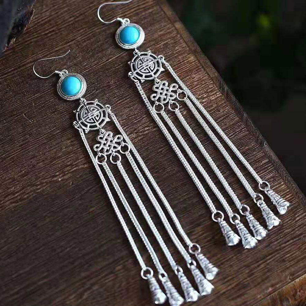 RADHORSE Earring Genuine 925 Sterling Silver Turquoise Chinese knot Tassel Modeling Earring Woman Classic Style Fine Jewelry RADHORSE Earring Genuine 925 Sterling Silver Turquoise Chinese knot Tassel Modeling Earring Woman Classic Style Fine Jewelry