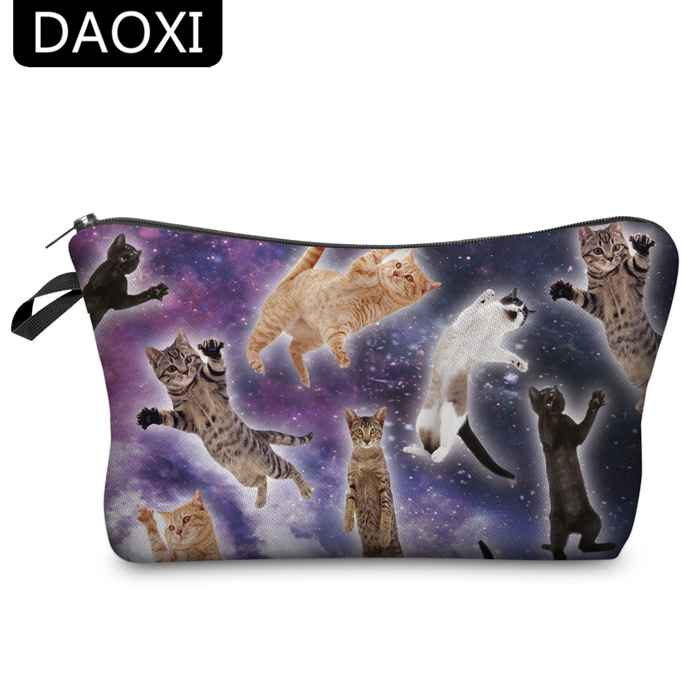 DAOXI 3D Printing Cosmetic Bags Animal Cats Women Fun Organizer Makeup Storage Gift for Girls 3d two cats style hoodie for man