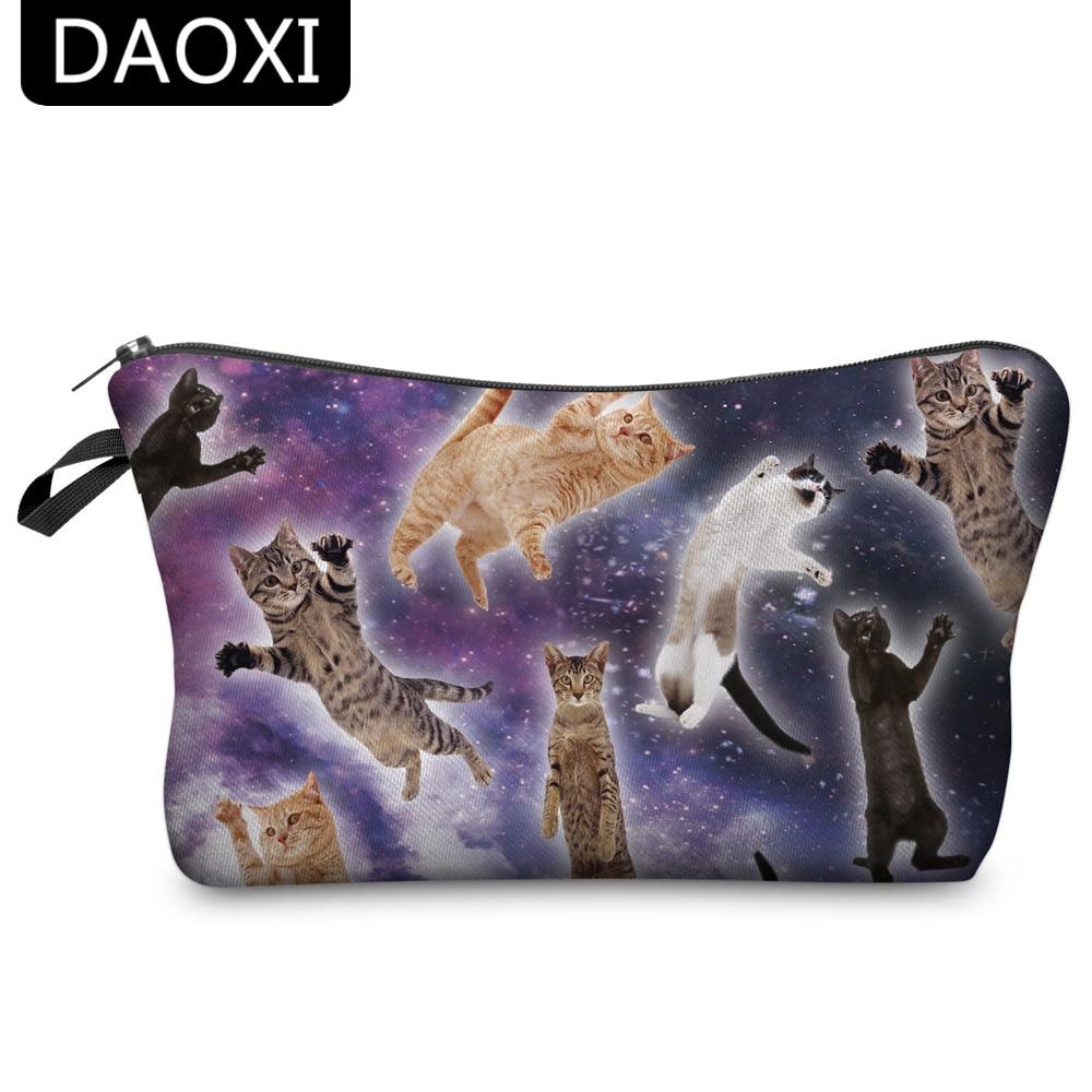 DAOXI 3D Printing Cosmetic Bags Animal Cats Women Fun Organizer Makeup Storage Gift For Girls