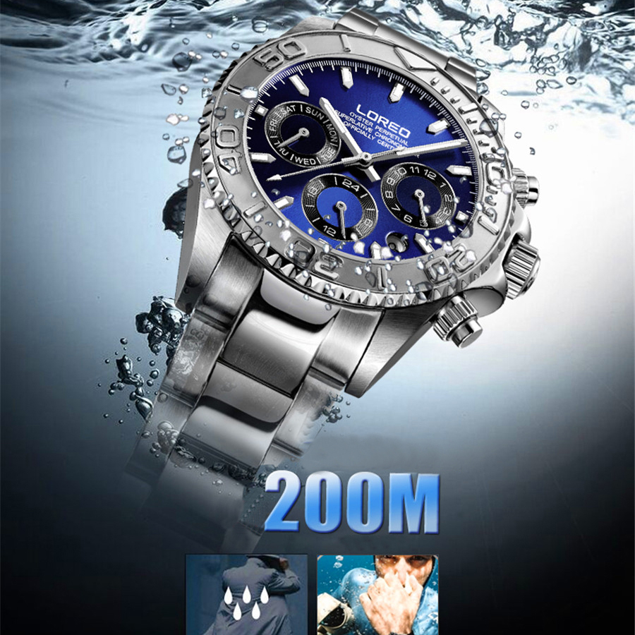 99620fa7e26 ... LOREO Men s Watches Top Brand Luxury Sapphire Automatic Mechanical  Watch Men Stainless steel 200 Waterproof Blue ...