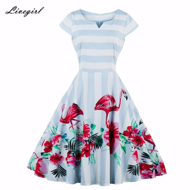 Women Dress Summer Striped Flamingo Retro Dress Casual Party Robe Pinup  Rockabilly 50s Vintage Dresses Vestidos S-4XL Plus Size d4cd3a81dd4c