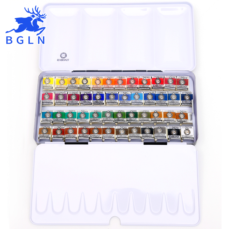 Bgln 12/24/48Colors Solid Watercolor Painting Set Metal Deluxe Half Pans Watercolor Paint Pigment Pocket Set Art Supplies 12 12 24 colors professional solid watercolor painting set half pans pigment set painting suit for drawing artist art supplies