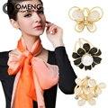 OMENG Fashion Simple Women's Butterfly Flower Cat Eye Rhinestone Scarves Clip Shawl Buckle New Charming Gift Jewelry OXZ134