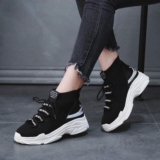 Bjakin/высокие женские кроссовки для бега, легкие тканевые спортивные женские кроссовки, увеличивающие рост акулы, Прогулочные кроссовки Zapatillas