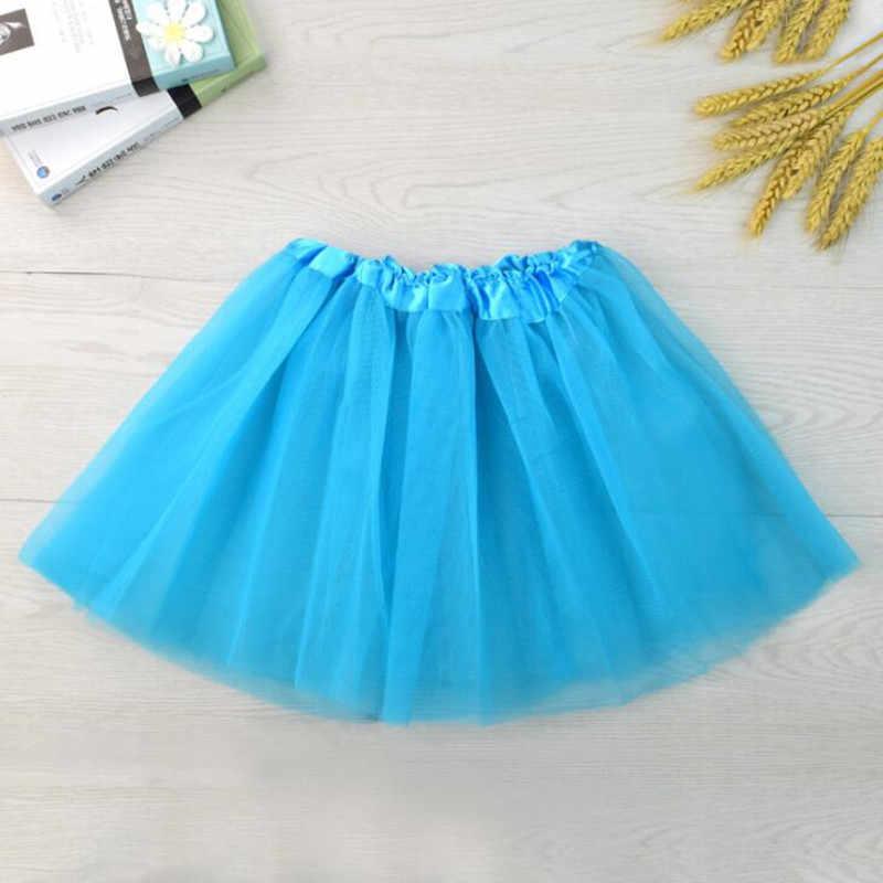 สาวเต้นรำกระโปรงสั้น 2020 ฤดูร้อนของแข็งสีเด็กสาวตาข่าย Tutu 3 ชั้นกระโปรงเสื้อผ้าเด็กสำหรับ 2-8 ปี