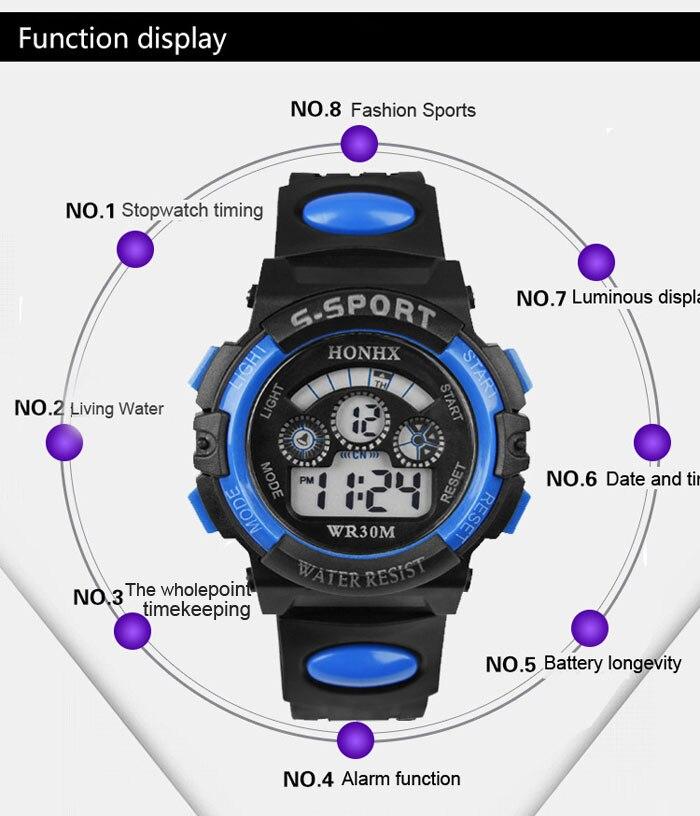 GEMIXI 2018 Fashion And luxury  Waterproof Children Boy Digital LED Quartz Alarm Date Sports Wrist Watch  Oct.8 6