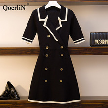 QoerliN Summer New Large Size Women Double-Breasted Ice Silk Knitted Short Sleeve Dress Black A-Line Dresses Plus Size Big Size plus size double breasted patchwork dress