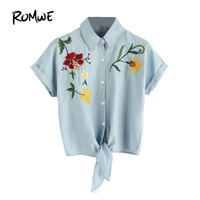 ROMWE Woman S Fashion 2017 Summer Tie Front Flower Embroidered Denim Shirt Blue Lapel Short Sleeve