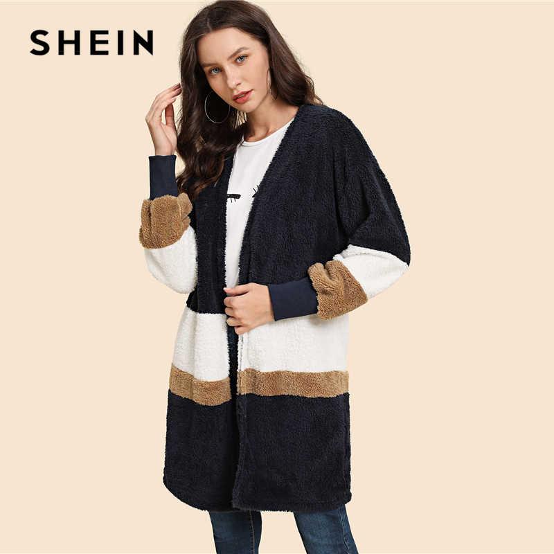 bc1b276429 ... SHEIN Streetwear Multicolor Open Front Color Block Teddy Long Sleeve  Coat Winter Modern Lady Elegant Women ...