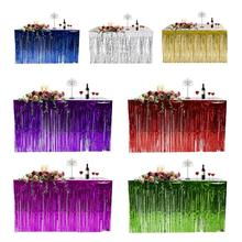 Hawaiian Party Decoration Fringed Table Skirt Celebration Thickened Table Skirt Curtain Hol