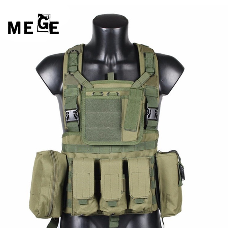 MEGE Military Tactical Vest Police Paintball Wargame Wear MOLLE Body Armor Caccia Gilet CS Prodotti per Esterni Attrezzature Nero, Tan