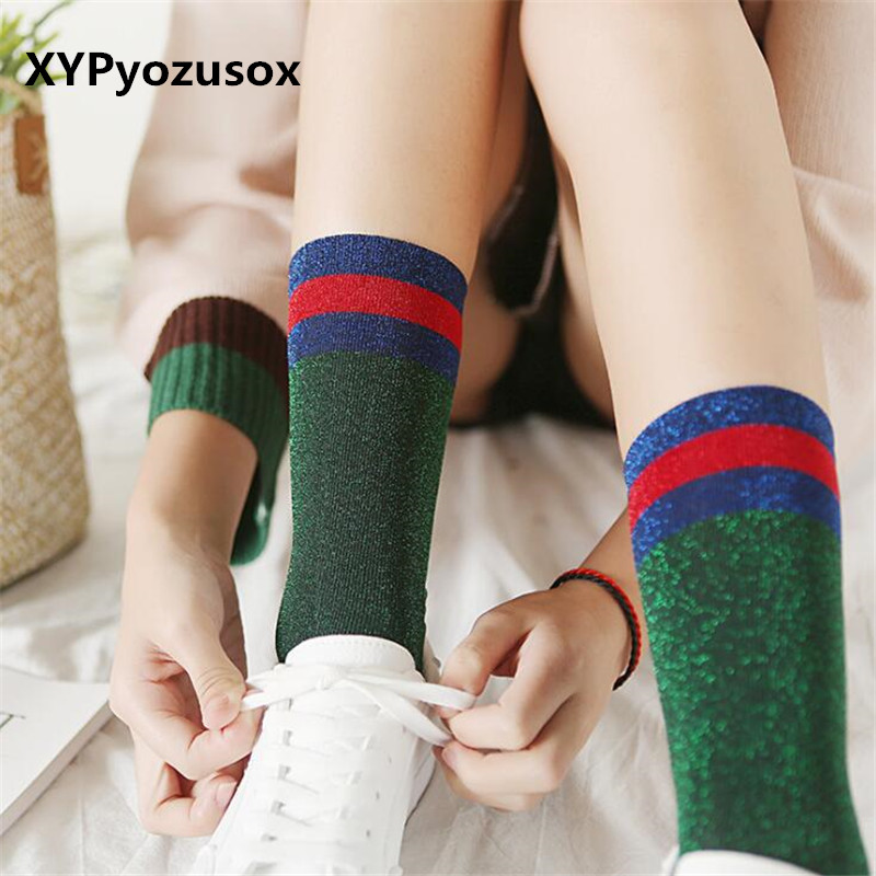 Fashion Harajuku Socks Shiny Women Striped Funny Socks For Female Girls Silver Long Glitter Socks Woman Calcetines Mujer Sokken