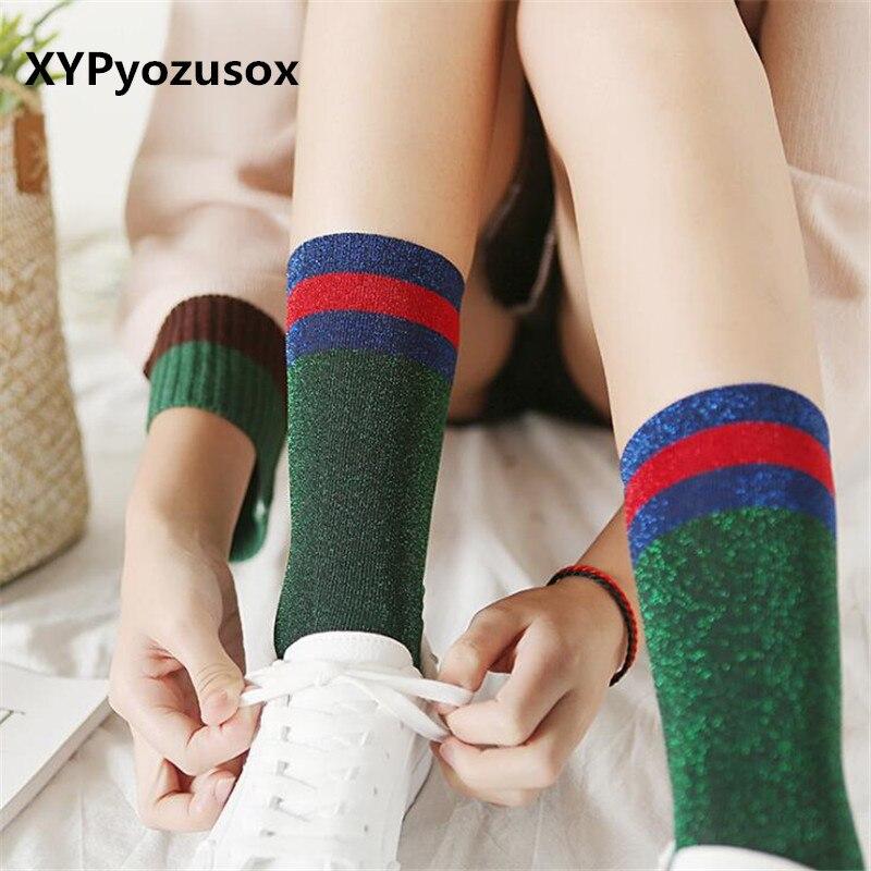 Fashion Harajuku   Socks   Shiny Women Striped Funny   Socks   For Female Girls Silver Long Glitter   Socks   Woman Calcetines Mujer Sokken