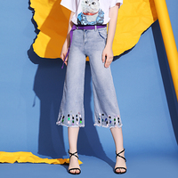 Women High Waist Wide Leg Jeans Pants Harajuku Cute Sequins Hole Denim Pants Korean Style Autumn Femme Roll Up Loose Jeans
