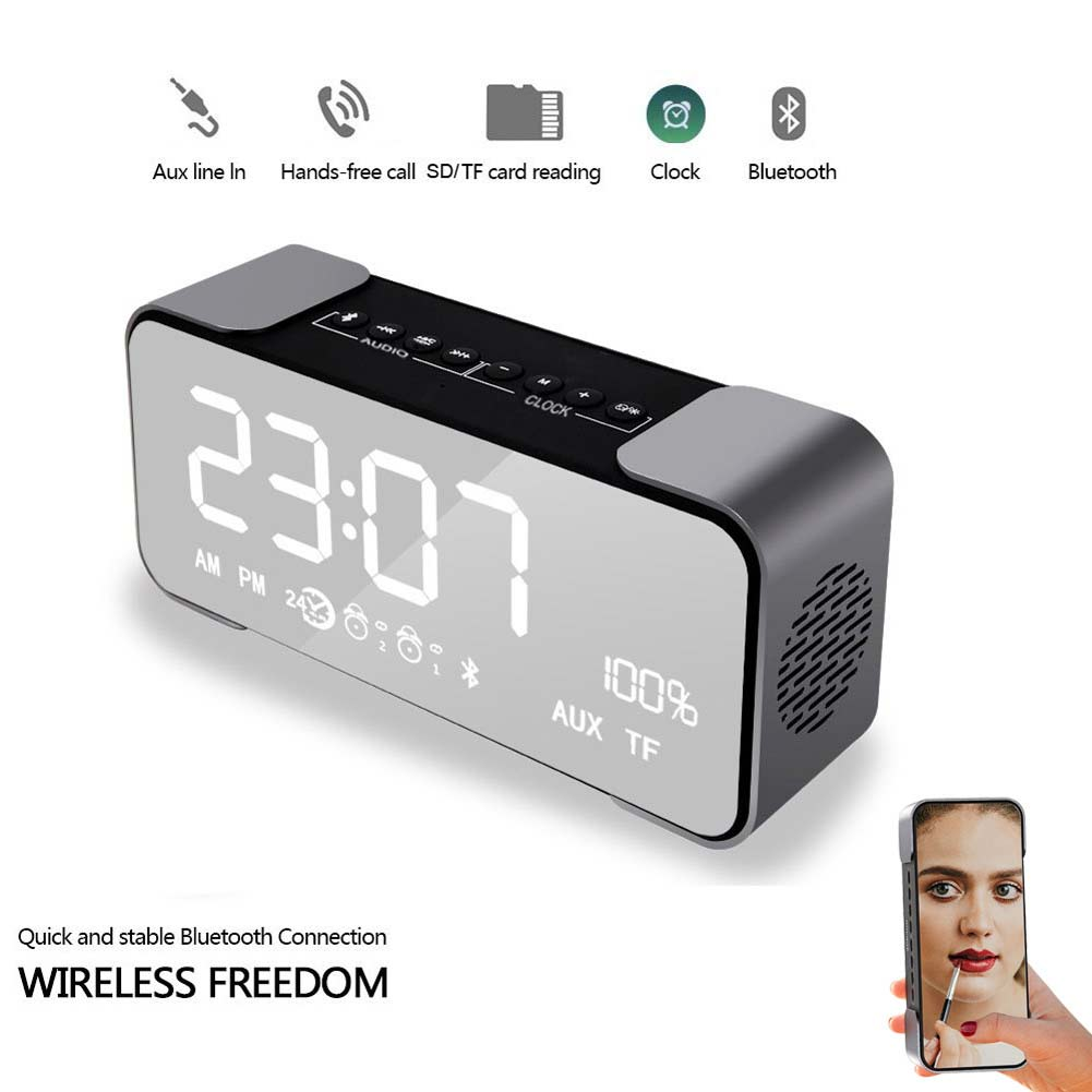 Portable Wireless Stereo Hi-Fi Bluetooth 4.2 Speaker with Large Screen Digital Radio Alarm Clock Support TF Card @JH цена 2017