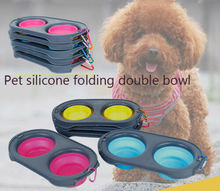 Pet Dog Cat Collapsible Feeding Double Bowl Travel Portable Silicone Water NEW