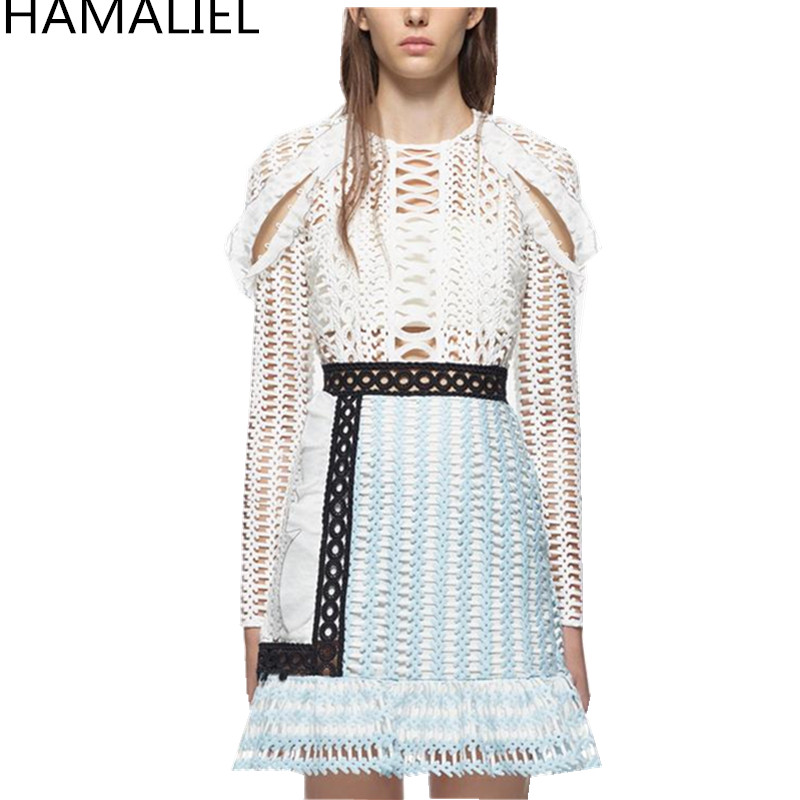 HAMALIEL Self Portrait Autumn Women Party Dress 2018 Designer Runway Sexy Lace Hollow Out Patchwork Bodycon Holiday Beach Dress
