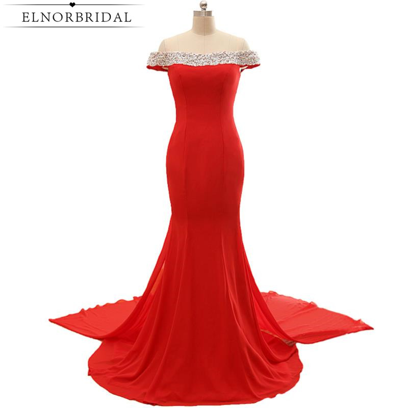 Red Off The Shoulder Prom Dresses Mermaid 2017 Beading Robe De Bal Detachable Train Imported Party Dress Formal Evening Gowns