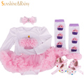 2016 Newborn Clothing Baby Birthday Sets,Baby Girl Clothes, Romper Princess tutu Dress+Headband+Socks/Shoes,Christmas Gifts