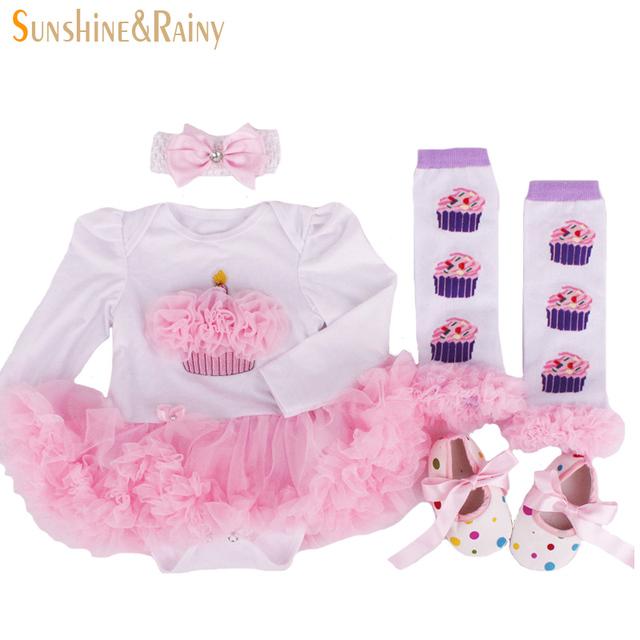 2016 recém-nascido roupa do bebê conjuntos de aniversário, Bebê roupas de menina, Macacão princesa tutu vestido + Headband + meias / sapatos, Presentes de natal