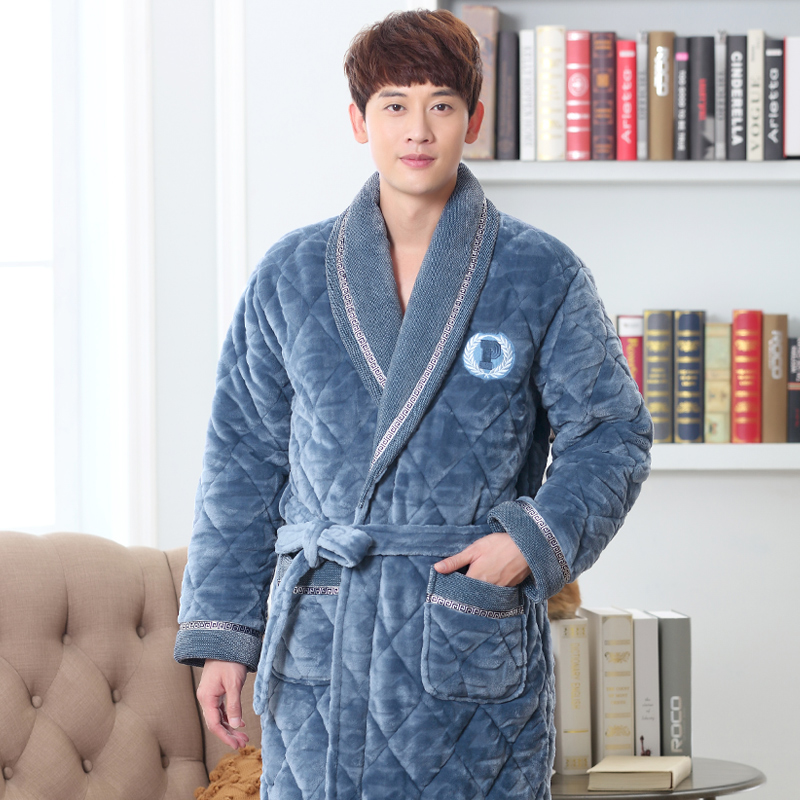 Detail Feedback Questions about Winter Bath Robe Men Bathroom Robe Men  Bathrobe Men Quilted Pajama Thick Long Spa Robe Shower Homewear Coral  Fleece on ... 21ecc8f7f
