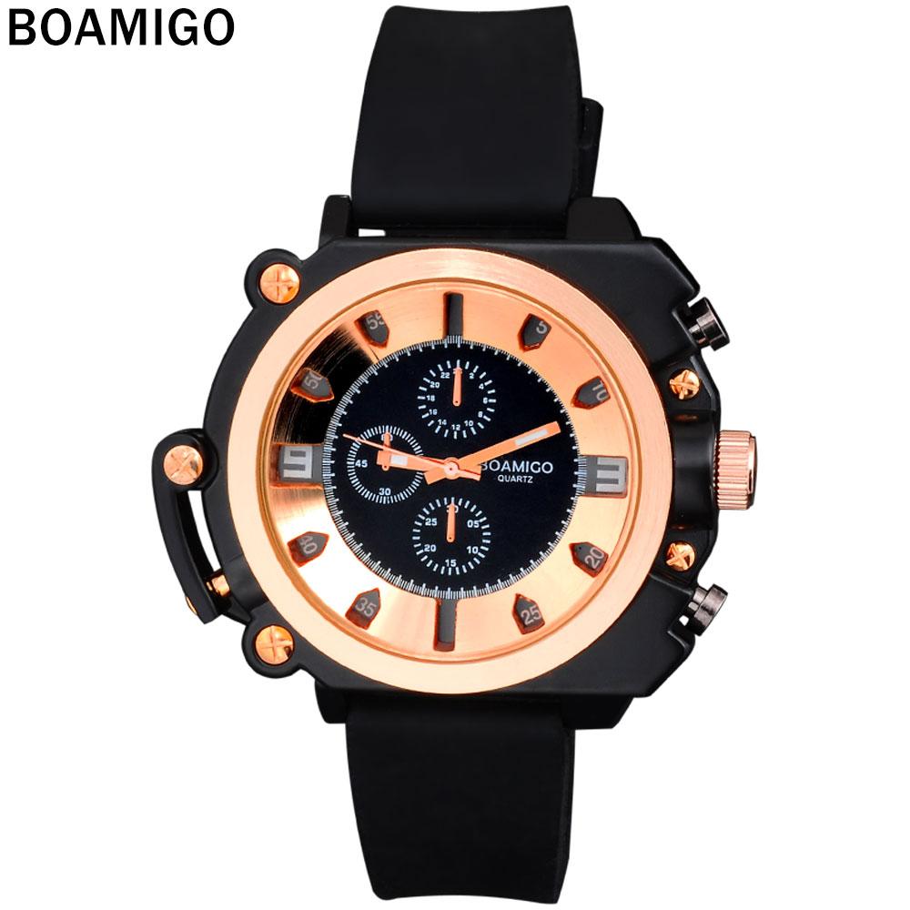 Prix pour 2016 montres hommes marque de luxe boamigo mode casual sport militaire analogique montres à quartz bracelet en caoutchouc montres rose d'or