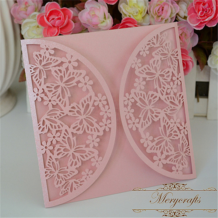 New style butterfly laser cut pink pearl wedding invitation card ...