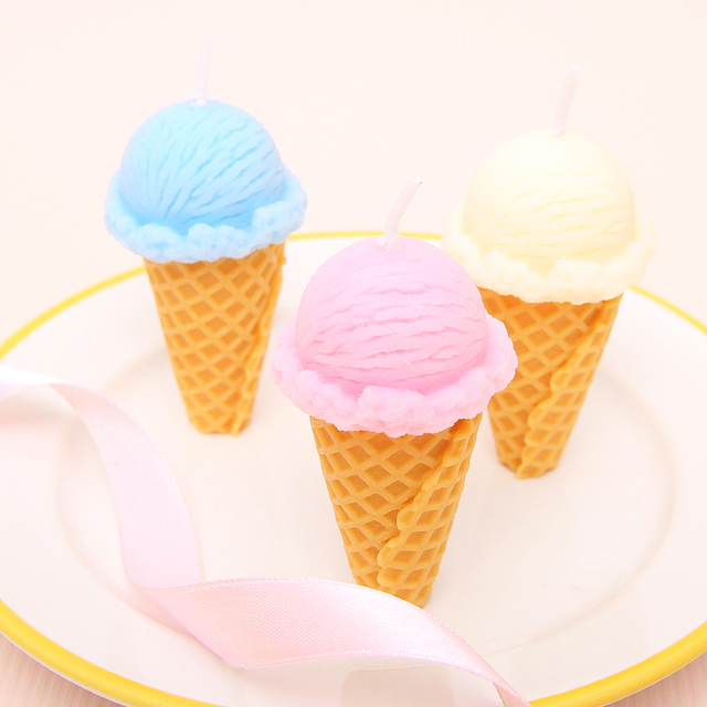 PRZY Silicone Candle Molds Fimo Clay Soap Birthday Cake Ice Cream Food Grade Fondant