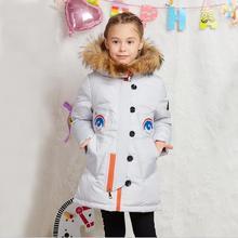 2016 Зимняя Куртка Девушки вниз пальто ребенок вниз куртки девушка duck down длинный Цветок Меха С Капюшоном свободные пальто детей и пиджаки