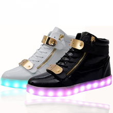 wholesale cheap lights up led luminous casual men shoes high glowing with charge simulation sole for men adults neon basket