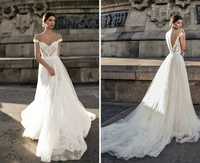 SSYFashion New White Lace Beach Wedding Gown Sexy Backless Sweep Train Beading Lllusion Long Wedding Dress Vestido De Noiva