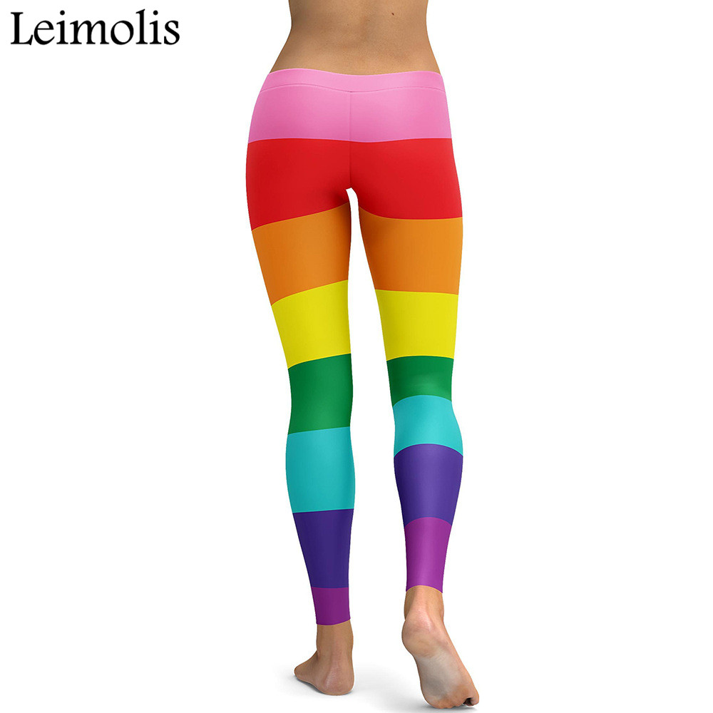 Leimolis 3D printed sweet Rainbow Striped harajuku gothic sexy plus size high waist push up fitness workout leggings women pants