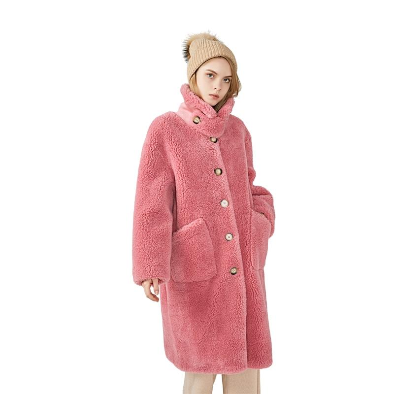MAOMAOFUR Wool Coat 2019 Winter New Fashion Long Clothing Women Warm Full Sleeves Fur Coat Female Quality Sheep Fur Jacket