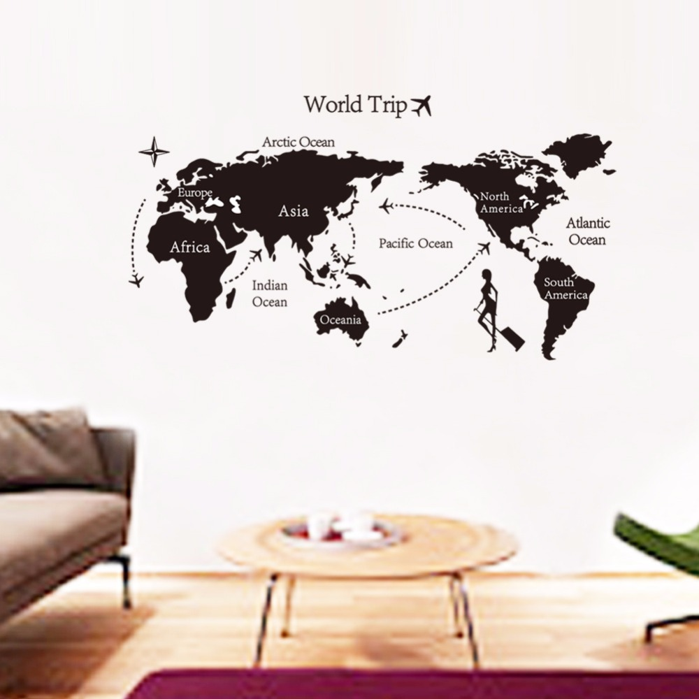 Big map of the world trip decorative wall stickers black five big map of the world trip decorative wall stickers black five continents diy pattern combination collage home wall landscaping in wall stickers from home gumiabroncs Images